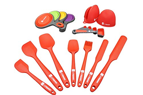 Non-Stick Heat Resistance Silicone Baking Set - 17 piece Baking Utensil Set complete with Silicon mittens, measuring cups and spoons by LiL Haven (Red)