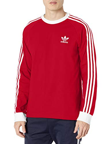 adidas Originals 3-Stripes Long Sleeve tee Camisa, Escarlata, S para Hombre