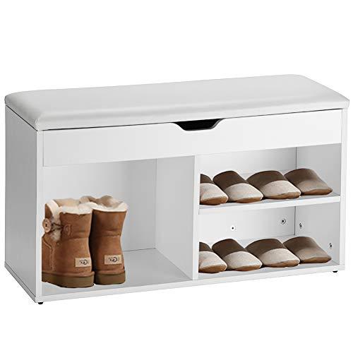 Orolay Schuhbank Schuhregal Schuhschrank Schuhtruhe mit Sitzkissen (Weiß)