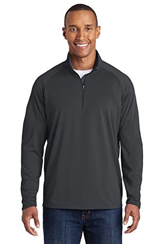 Sport-Tek Men's Sport Wick Stretch 1/2 Zip Pullover L Charcoal Grey