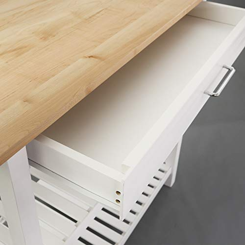 Casual Home Kitchen Island with Solid American Hardwood Top, Natural/White, 40