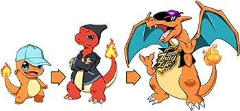 Okiwoki Bonnet Noir Parodie Pokémon - Dracaufeu, Salamèche et Reptincel - Dragon Evolution(Bonnet de qualité supérieure - Taille Adulte - imprimé en France)