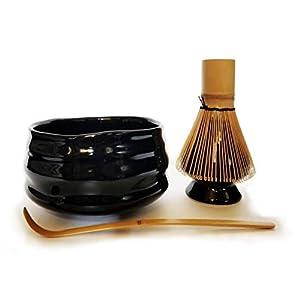 HARU MATCHA – Complete Matcha Tea Ceremony Gift Set – Black Matcha Chawan Bowl, Golden Bamboo Scoop (Chashaku), Bamboo…
