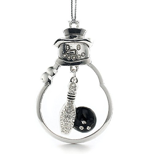 Inspired Silver - Bowling Charm Ornament - Silver Customized Charm Snowman Ornament with Cubic Zirconia Jewelry