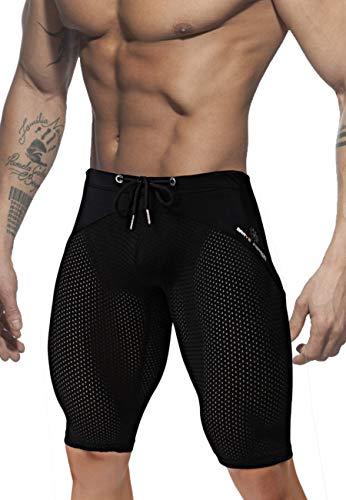 MIZOK Herren yoga capris mesh-quick dry bademode workout shorts l fit taille größe 31-35inch schwarz