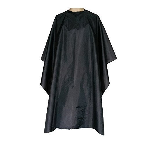 Magiczone Professional Hairdressing Salon Nylon Cape with Closure Snap,Barber Styling Cape,Unisex Black Hair Cutting Cape - 59' x 51'