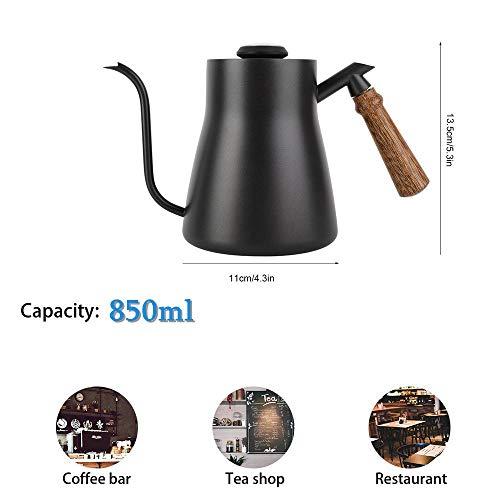 Diyeeni 850 ml Druppelwaterkoker, teflon coating roestvrij staal, zwanenhals drip koffiekan, teapot met houten handvat - met/zonder ingebouwde thermometer Mit Thermometer