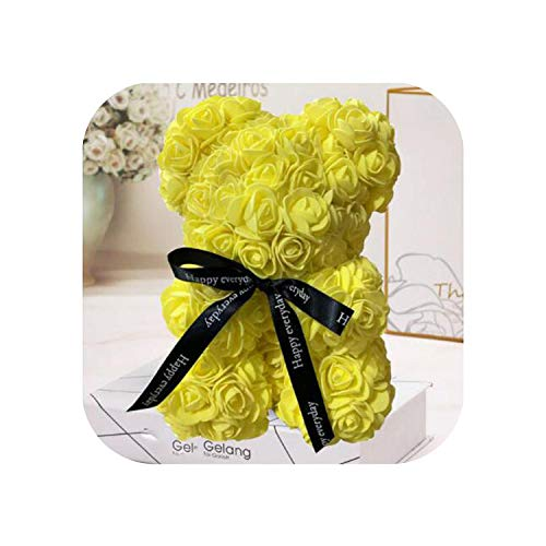 Old street Fake Nail Ours Rose à la Main   25cm Ours en Peluche Rouge Rose Fleur Cadeaux de Noël artificiels pour Les Femmes Cadeau de Saint Valentin-Jaune 25cm sans boîte-