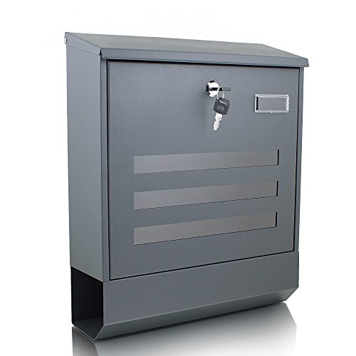 BITUXX Briefkasten grau anthrazit Post Briefkasten Wandbriefkasten und Zeitungsfach