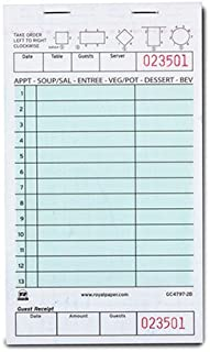 Royal Green Guest Check Board, Carbonless 2 Part Booked with 13 Lines, Case of 40 Books