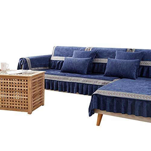 Fundas de sofá de Chenilla Fundas de sofá de Color sólido Moderno Fundas de sofá Funda de sofá Reversible para Mascotas Niños Niños Perro Gato,Azul,90X210cm