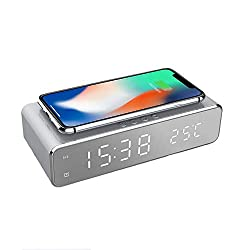 Mellion LED Digital Alarm Clock Wireless Charging Pad Dock, Display with Time and Temperature, 10W Qi-Certified Wireless Charger for Bedroom, Meeting, Travel, Homework and More (Silver)