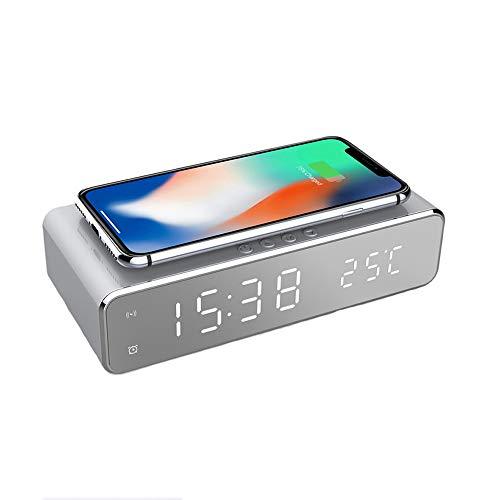 E-JUN - Alarma LED para iPhone 11, 11 Pro Max, XR, XS Max, XS, X, 8, 8 Plus, 10 W, cargador Galaxy S10 S9 S8, Note 9