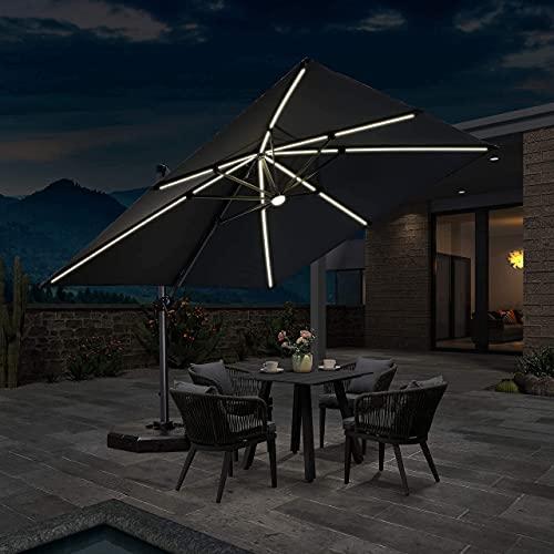 PURPLE LEAF 300 X 300 cm Quadratisch Sonnenschirm mit Solar LED Beleuchtung Gartenschirm Kurbelschirm Ampelschirm Terrassenschirm, Grau