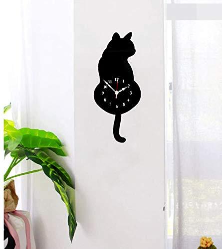 hengguang Creative Cat Pendulum Wall Clock, Cat Clock with Moving Tail, Funny Swinging Wall Clocks, A for Cat Lovers Black cat