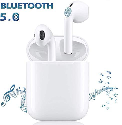 Auricolari Bluetooth 5.0 TWS i12 Stereo Sound 3D Noise Cancelling Tocca Controllo Ricarica Rapida IPX7 Impermeabile Pop-Ups Auto Pairing Cuffie Senza Fili per Palestra Portatile Bianca