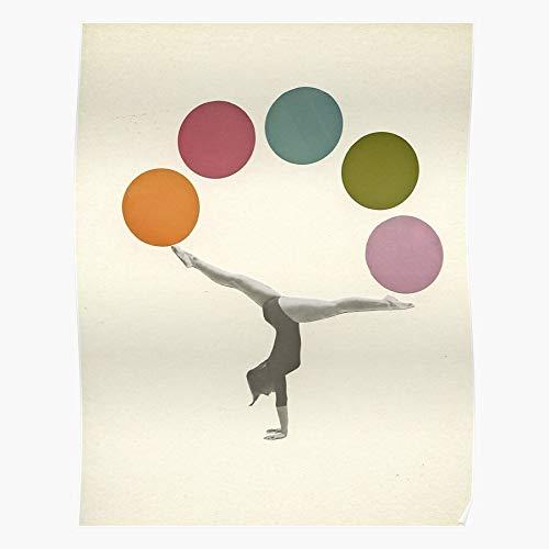 Gymnastics and Black Retro Collage Sport White Colourful Vintage Style Simple Home Decor Wandkunst drucken Poster !