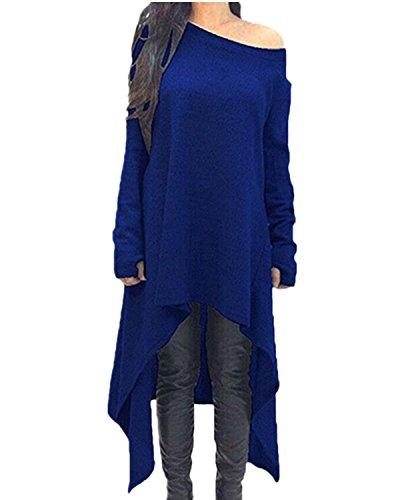 ZANZEA Damen Unregelmäßige Strick Oversize Langarm Pullikleid Longshirt Top Minikleid Royal EU 46/Etikettgröße 2XL