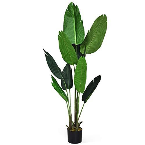 COSTWAY Palma Tropicale Artificiale in Vaso, Tronco Resistente Foglie Realistiche, da Interno ed Esterno, Pianta Artificiale 160cm