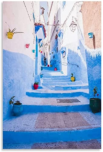 IOIP Quadro su Tela 40x60cm Senza Cornice Chefchaouen Marocco Paesaggio Poster Poster squisiti Poster Moderni per la Decorazione dell'ufficio di Studio a casa