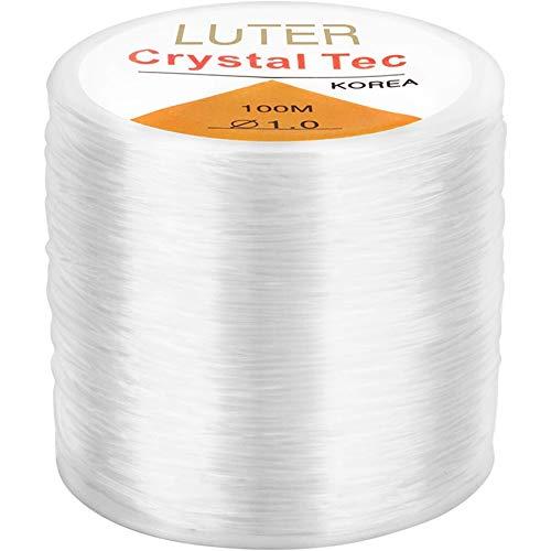 Fltaheroo 1 mm de cordón de cuentas transparente de cristal elástico para hacer joyas, collares, pulseras, cuentas de hilo de 1 mm
