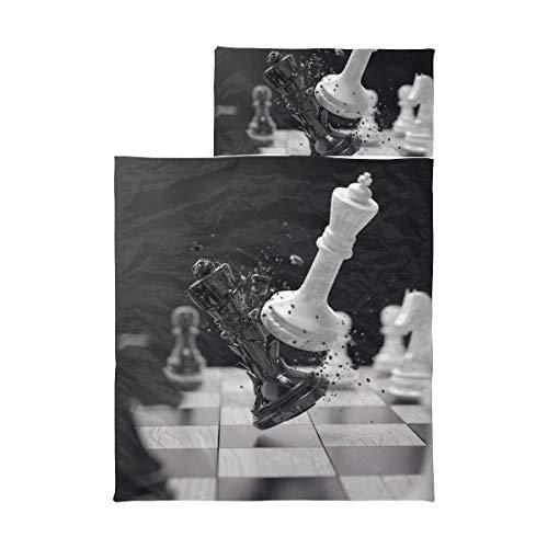 Kids Nap Mat Boys Schachbrett mit Schachfiguren auf schwarzen Nap Mats Girls Soft Microfiber Leichte Kinderschlafsäcke für Jungen Perfekt für Vorschule, Kindertagesstätte und Übernachtungen