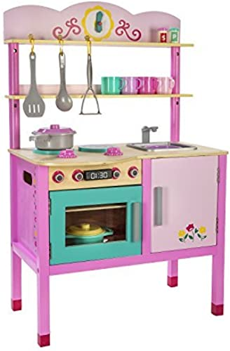 Play Circle Little Chef's Kitchen - Teaches and Fosters Creativity - 100% BPA and PVC Free Plastic Accessories - Wooden - Rosa and Turquoise by Play Circle