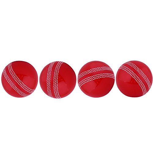Kosma Set of 4 Windball Cricket Ball | Soft Training Ball | Indoor/Outdoor Practice Ball- Red With White Seam