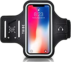 TRIBE Water Resistant Cell Phone Armband Case Running Holder for iPhone Pro Max Plus Mini SE (12/11/X/XS/XR/8/7/6/5) Galaxy S Ultra Plus Lite Edge Note (21/20/10/9/8/7/6/5) Adjustable Strap Pocket Key