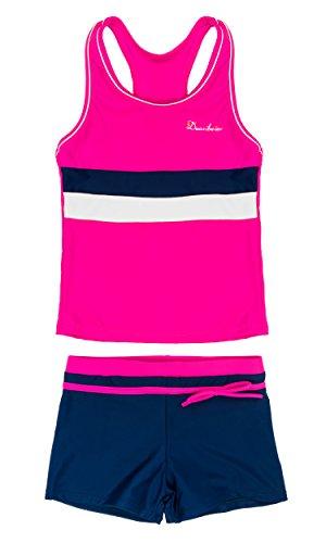 KABETY Little Girls Summer Two Piece Boyshort Fashion Tankini Swimsuit (Rose, 8-9=2XL)