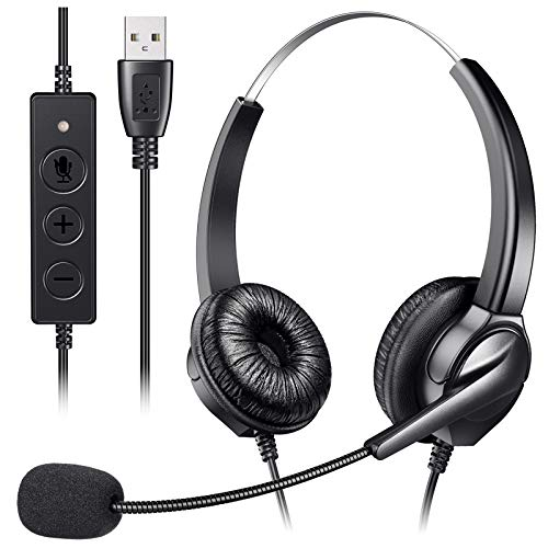USB Headset with Microphone for PC, Yme Business Headset with Noise Cancelling Mic, Stereo Wired Headphone for Customer Service Call Center Office Laptop