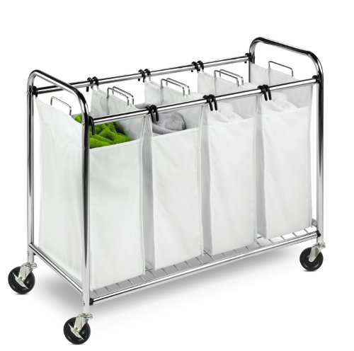 Price comparison product image Honey-Can-Do Heavy Duty Quad Rolling Laundry Sorter Hamper,  Chrome / White