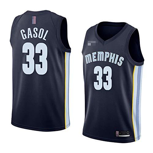 LYY Camisetas De Baloncesto para Hombres, NBA Memphis Grizzlies # 33 Marc Gasol, Camiseta Clásica De Ropa Sin Mangas, Tapas De Uniformes De Tela Confort,A,L(175~180CM)