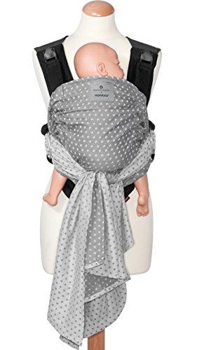 bellybutton by manduca DUO - Innovatives Tragesystem, Babytrage und Tragetuch zugleich, Click & Tie System, Bauchtrage, abnehmbarer Hüftgurt, für Neugeborene und Babys bis 15 kg (WildCrosses grey)