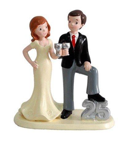 DISOK - Figura Pastel 25 Aniversario - Figuras Tartas Pastel Bodas de Plata