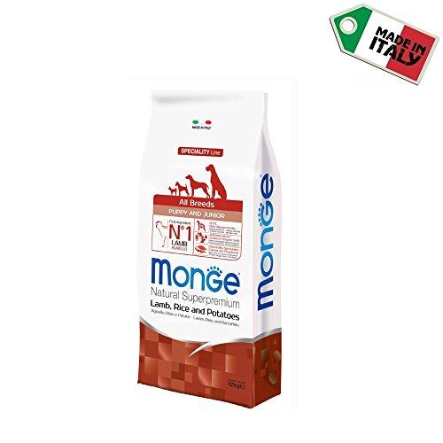 Monge All Breed Puppy & Junior 12 kg (cordero y riso) – Pienso de cordero para cachorros de perro, monoproteico, 100% natural