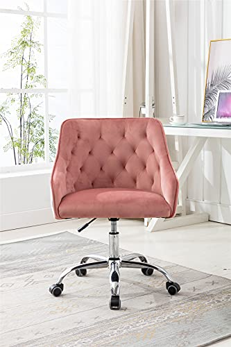 Velvet Home Office Desk Chair, Modern Swivel Armchair, Comfy Task Chair with Height Adjustable, Upholstered Tufted Computer Chair for Working or Studying (Dark Pink)
