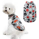 Small Dog Winter Coat - Windproof Puppy Polar Fleece Hoodie Pet Warm Lightweight Coat with Cute Paw Bone Design for Small Medium Doggie Cat