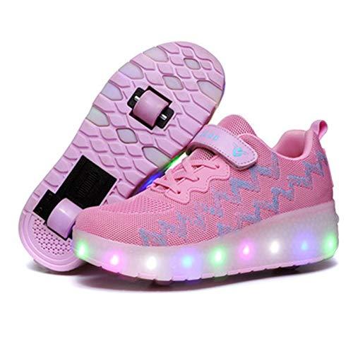 Zapatillas con Ruedas LED Luz Automática De Skate Zapatillas Automática Calzado De Skateboarding USB Carga De Zapatillas Recargable para Niños Niñas,Rosado,37