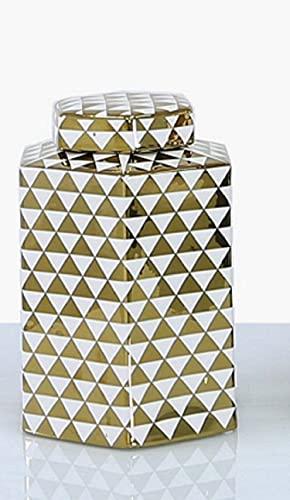 MAISONICA Vit och guld hexagon ingefära burk heminredning display förvaring vas lock gåva 24 cm hög