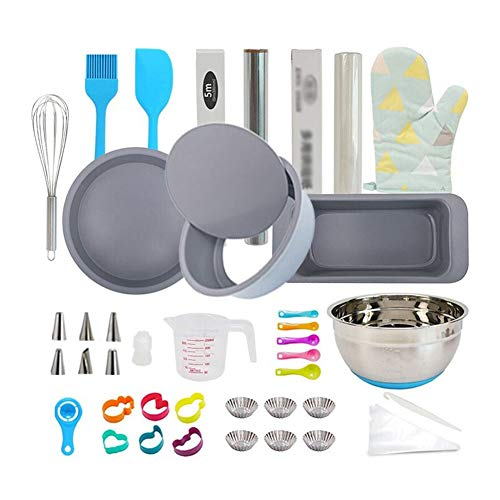 WLNKJ Nonstick Carbon Steel Bakeware Set, 18-Piece Complete Baking Tools for Beginner Adults | Pizza Baking Pan | Cake Toast Mold | Decorating Supplies