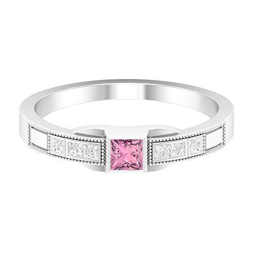 Anillo de turmalina rosa de 1/2 quilates, anillo de diamante HI-SI, anillo de compromiso de corte princesa de 3 x 3 mm, anillo de oro grabado solitario, oro de 14 quilates, Metal, Diamond Tourmaline,