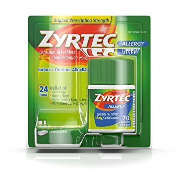 Zyrtec Prescription-Strength Allergy Medicine Tablets With Cetirizine, 70 Count, 10 mg - Pack of 2