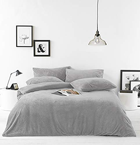 Furn Sherpa DB Duvet Set Grey, Polyester, Grau, Double