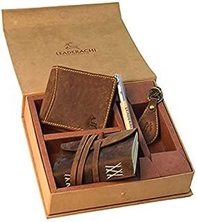 Leaderachi Genuine Hunter Leather Combo (Wellet ,Dairy,Keyring,pen ) Set