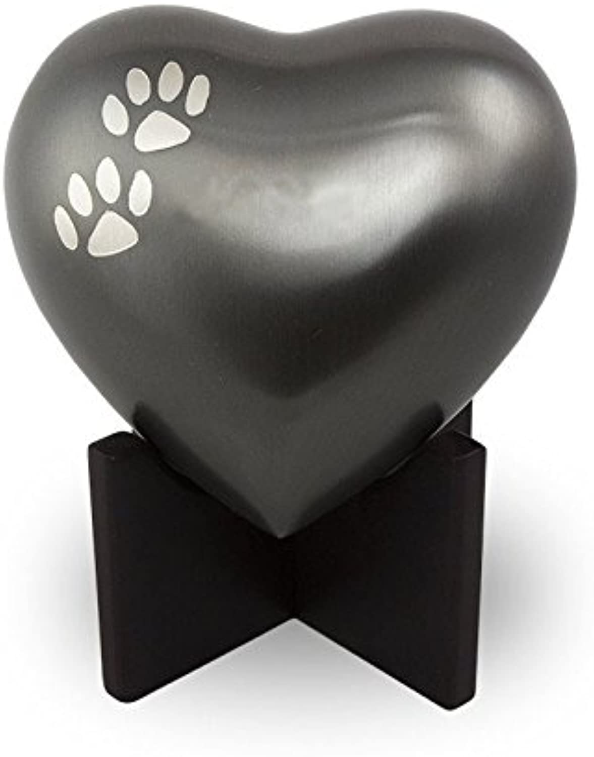 OneWorld Memorials Paw Print Heart Bronze Pet Urn  Small  Holds Up to 20 Cubic Inches of Ashes  Slate Grey Pet Cremation Urn for Ashes  Engraving Sold Separately
