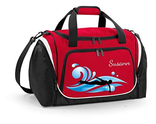 Mein Zwergenland Sporttasche Kinder personalisierbar mit Schuhfach, Kindersporttasche 39L mit Name und Schwimmer Bedruckt in Rot