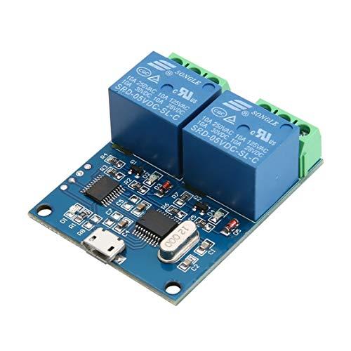 Bellaluee LCUS-2 USB 5V Módulo de relé de 2 Canales CH340 Interruptor de Control Inteligente USB Módulo de relé Serie Módulo de relé USB