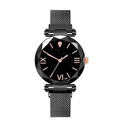 Hzing Armbanduhren für Damen Mesh Armbanduhr Simulierter Diamant Dail Frauen Casual Women Watch Damen Uhr Damenuhr