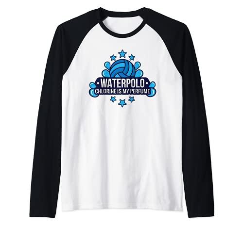 Funny Water Polo Chlorine Is My Perfume Swimming Sport Camiseta Manga Raglan